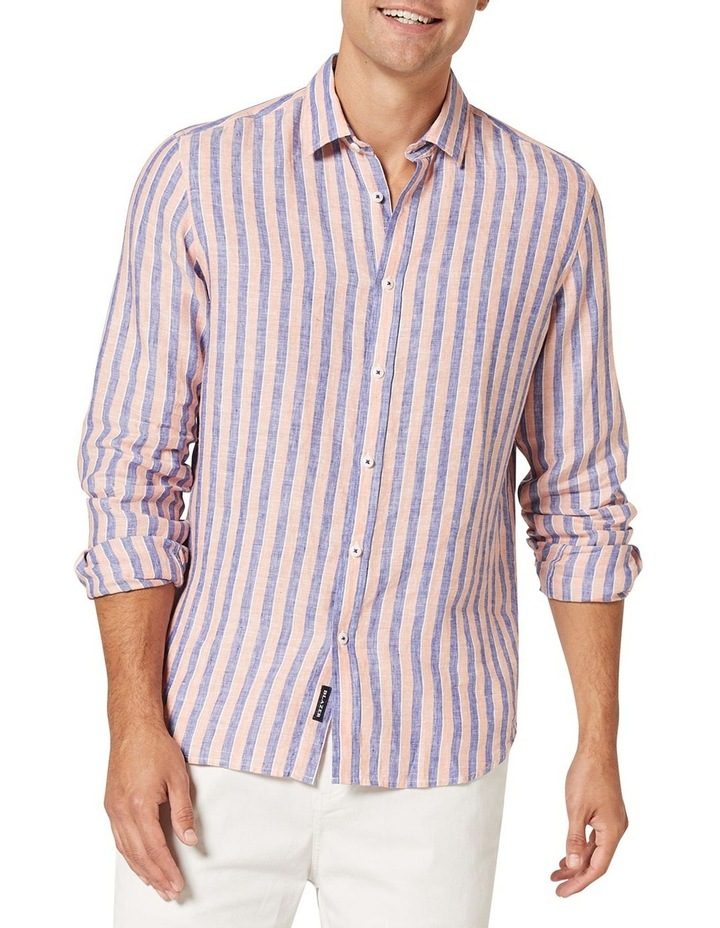 Dominic Long Sleeve Linen Stripe Shirt image 1