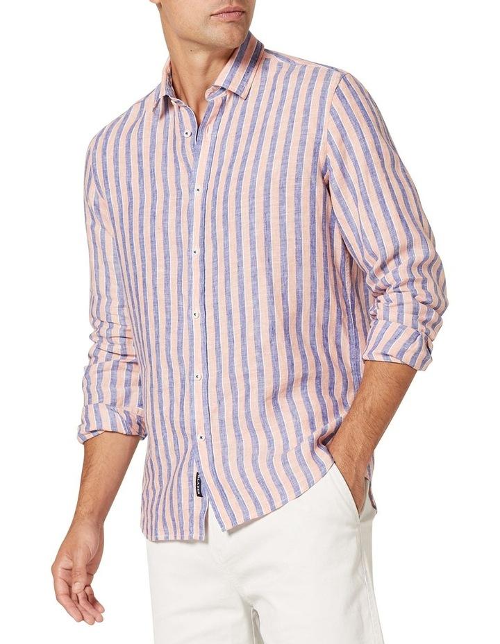 Dominic Long Sleeve Linen Stripe Shirt image 4