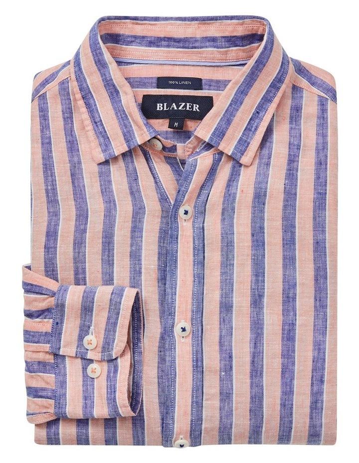 Dominic Long Sleeve Linen Stripe Shirt image 5