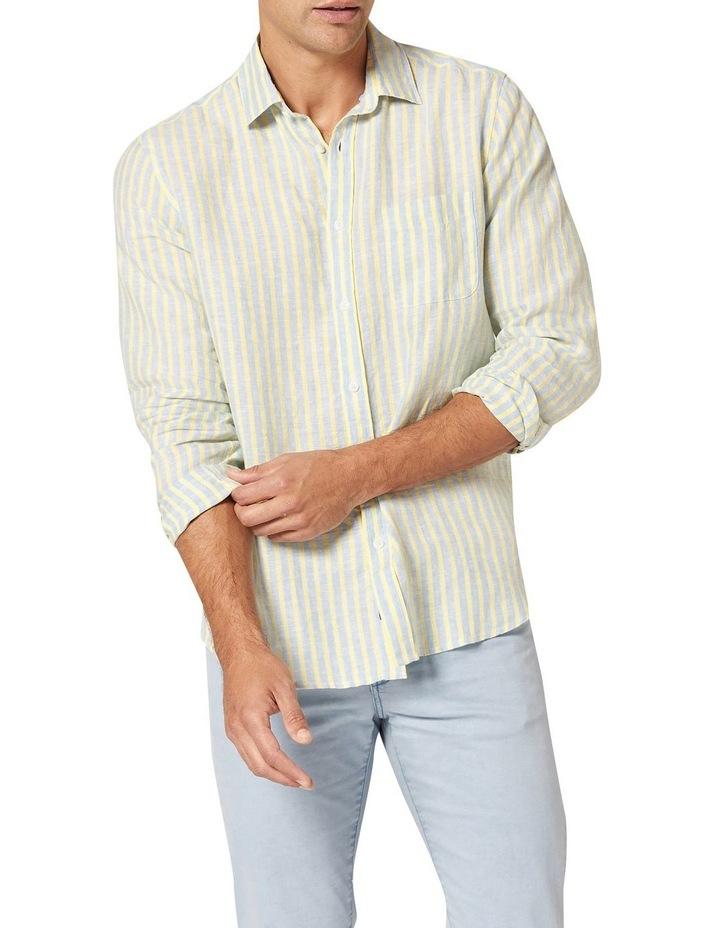 Calvin Long Sleeve Linen Stripe Shirt in Blue/Yellow image 1