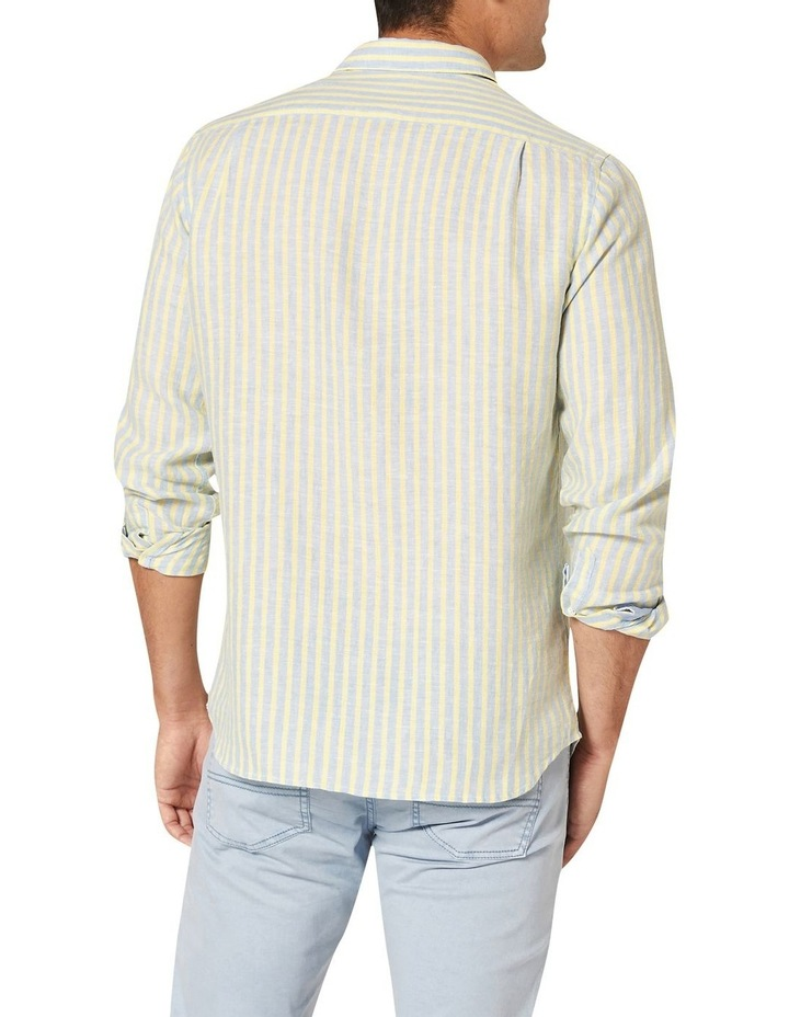 Calvin Long Sleeve Linen Stripe Shirt in Blue/Yellow image 2