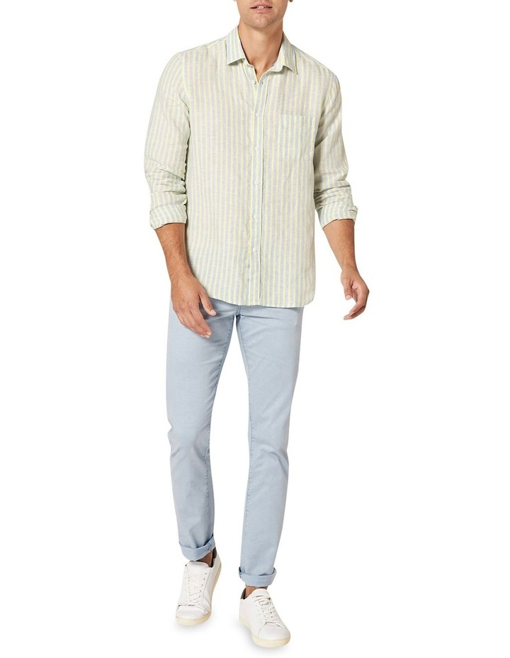 Calvin Long Sleeve Linen Stripe Shirt in Blue/Yellow image 3