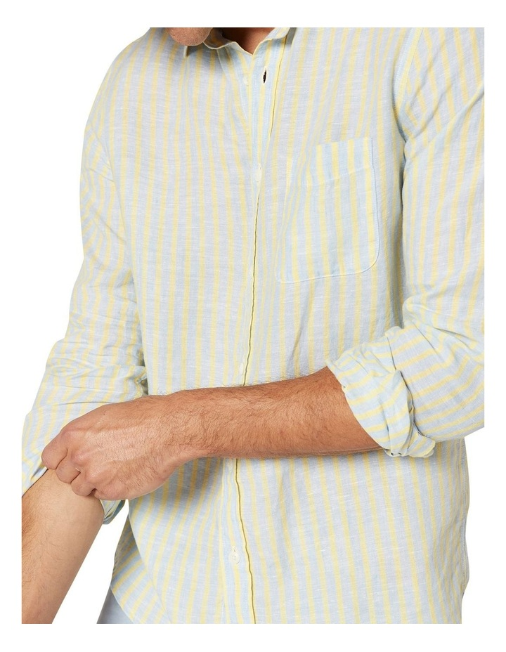 Calvin Long Sleeve Linen Stripe Shirt in Blue/Yellow image 4