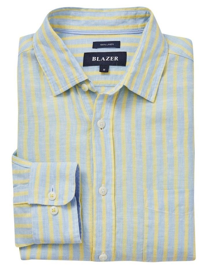 Calvin Long Sleeve Linen Stripe Shirt in Blue/Yellow image 5
