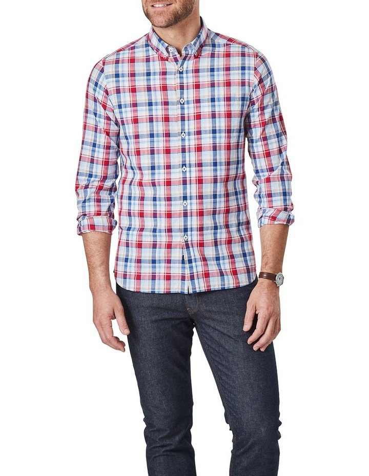 Jamieson Long Sleeve Check Shirt In Red/Navy image 1