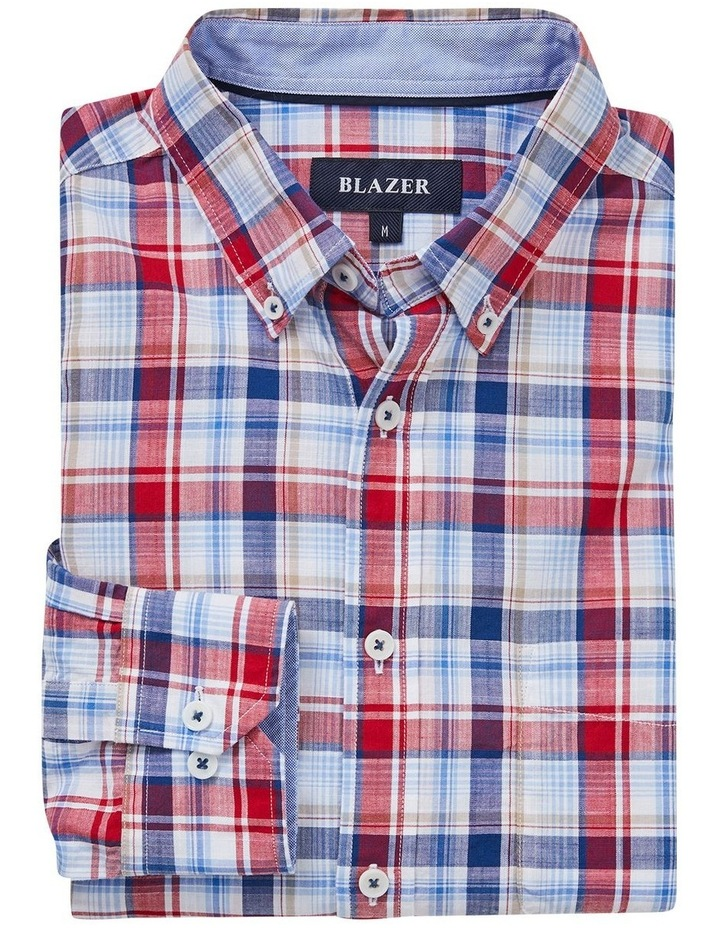 Jamieson Long Sleeve Check Shirt In Red/Navy image 5