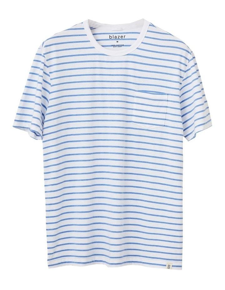 Jones Stripe Short Sleeve Tee White/Sky Blue image 3