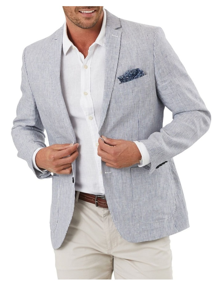 Tailored Pure Linen Stripe Blazer image 1