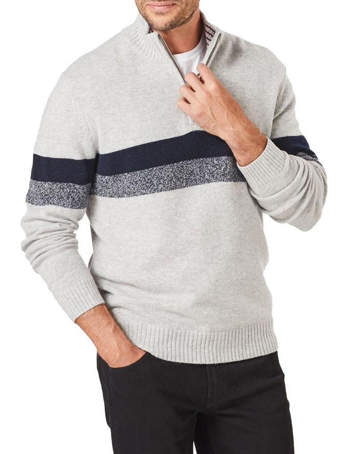 Wool Blend Chest Stripe Zip Knit image 1