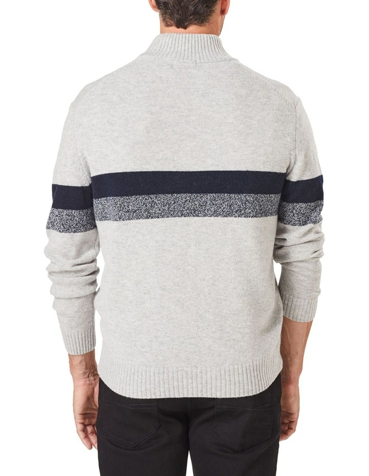 Wool Blend Chest Stripe Zip Knit image 2