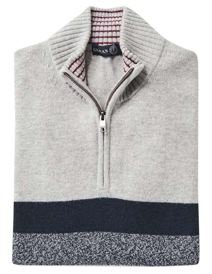 Wool Blend Chest Stripe Zip Knit image 4
