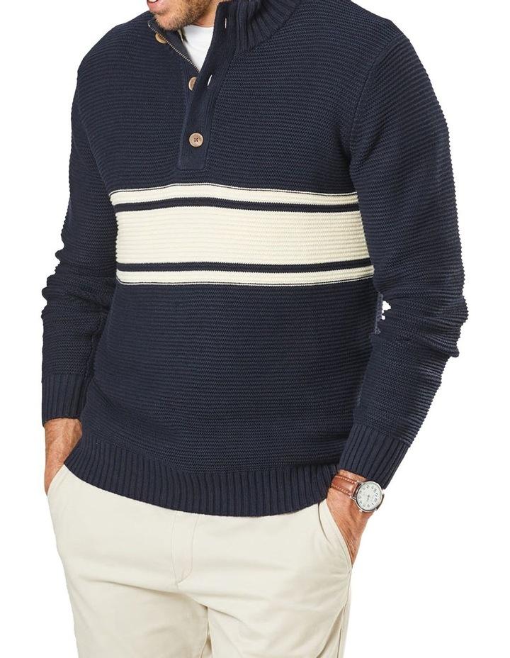 Button Neck Stripe Knit Navy image 1