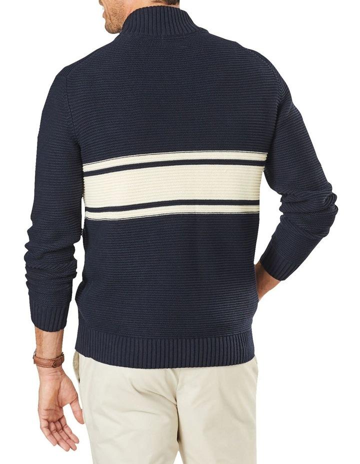 Button Neck Stripe Knit Navy image 2