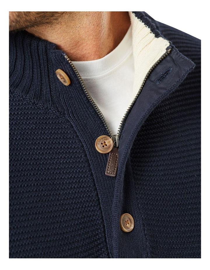Button Neck Stripe Knit Navy image 3