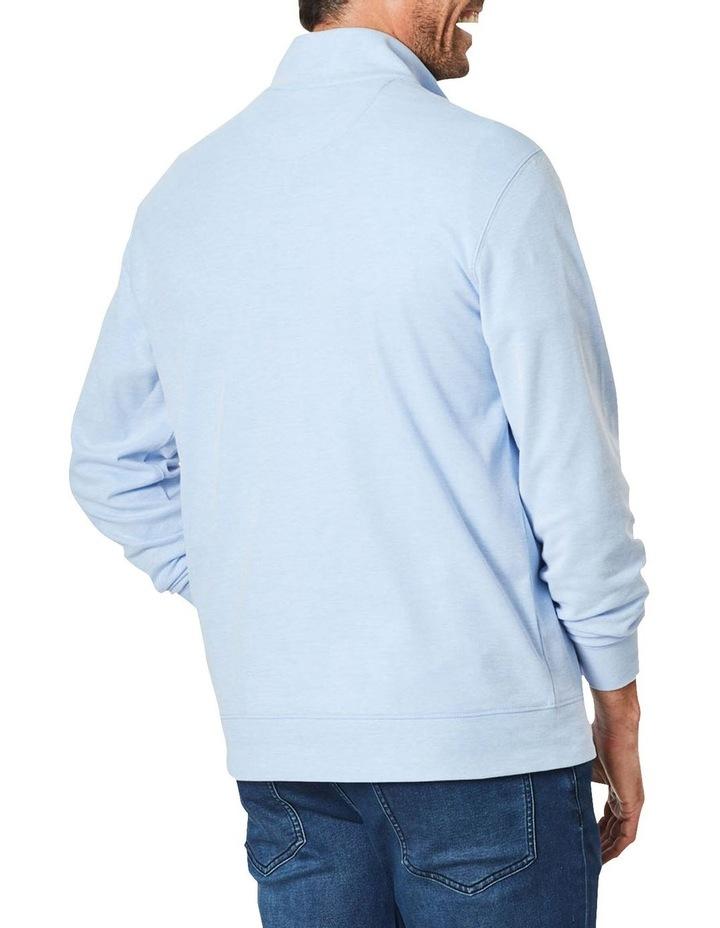 1/2 Zip Pique Sweat Top Pale Blue image 2