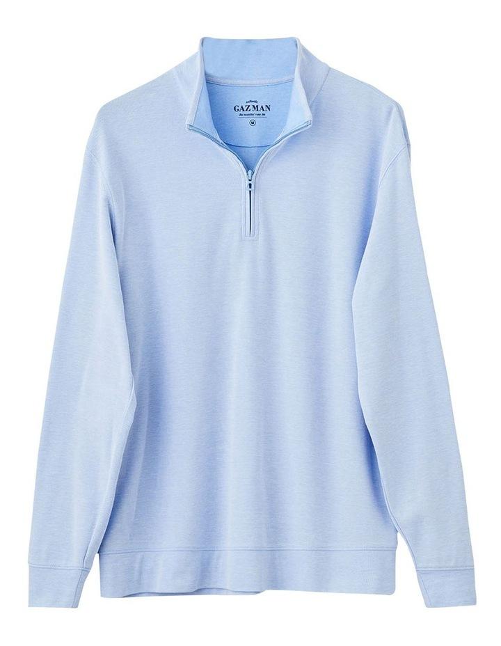 1/2 Zip Pique Sweat Top Pale Blue image 3
