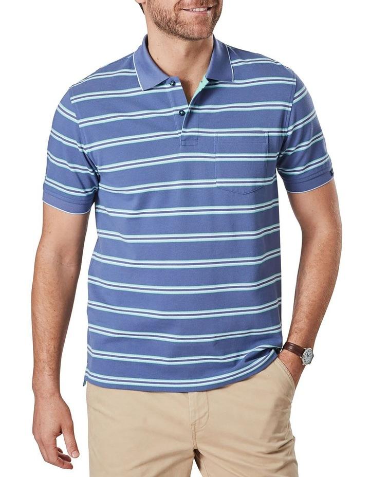 Pique Stripe Polo  Blue image 1