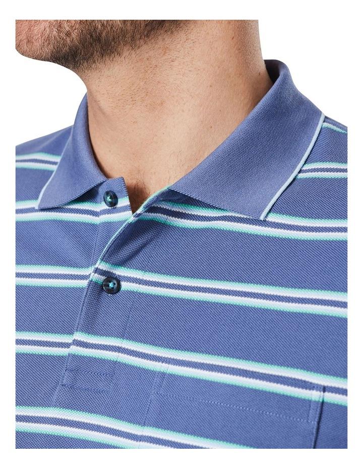 Pique Stripe Polo  Blue image 3