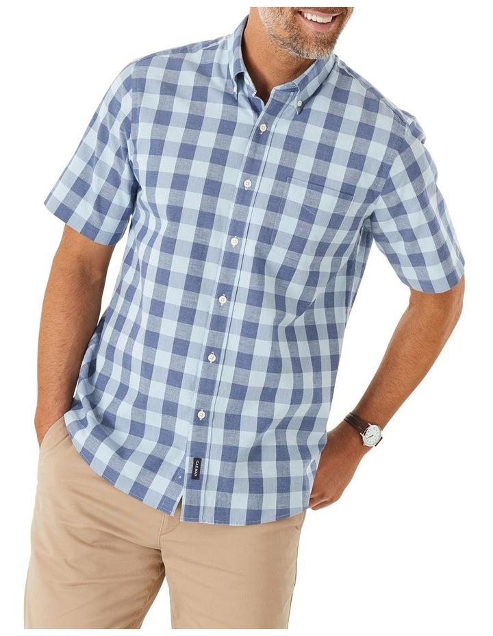 Casual Slub Box Check Short Sleeve Shirt image 1