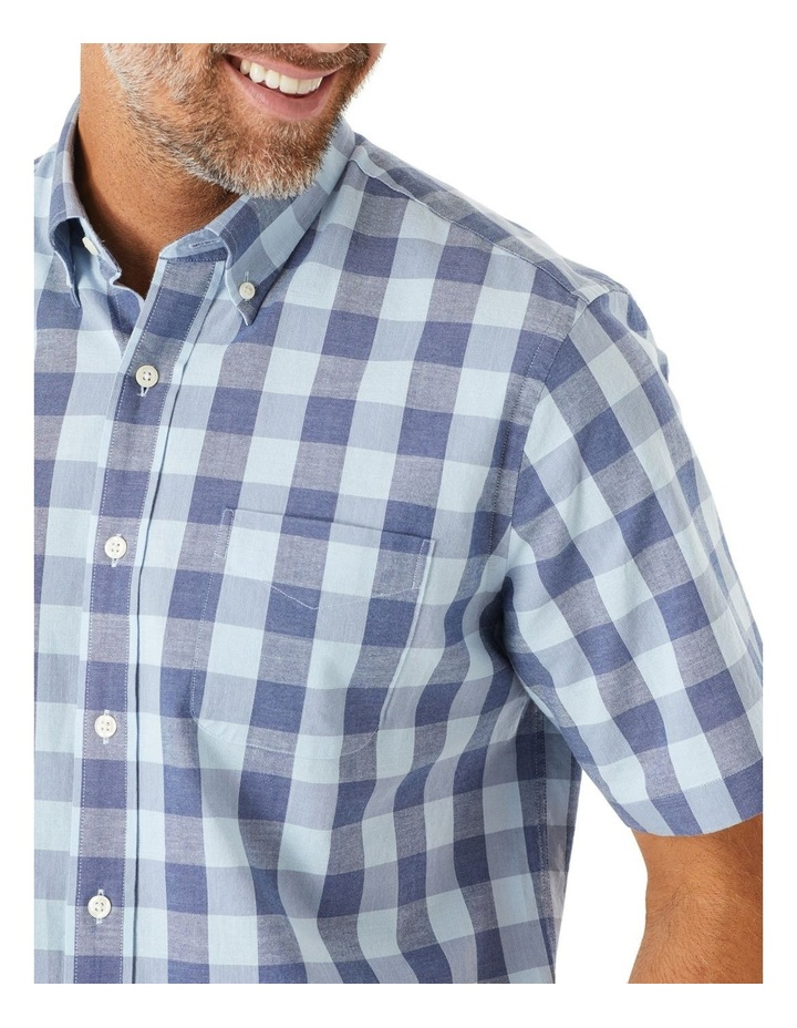 Casual Slub Box Check Short Sleeve Shirt image 2