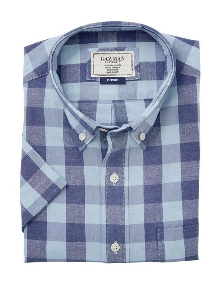 Casual Slub Box Check Short Sleeve Shirt image 3