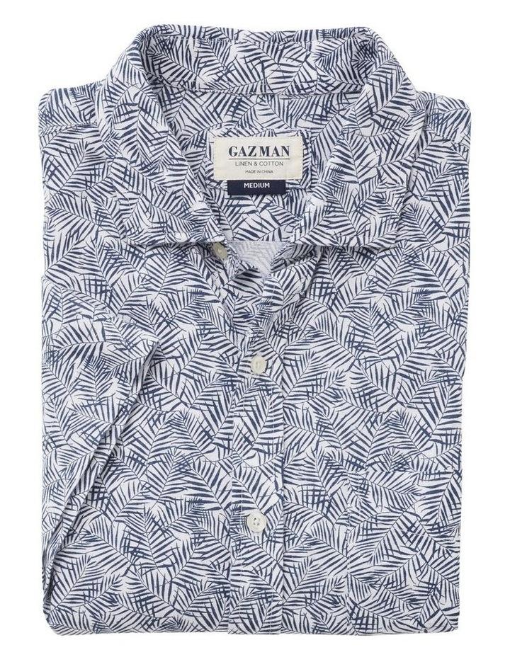 Linen Blend Palm Print Short Sleeve Shirt image 4