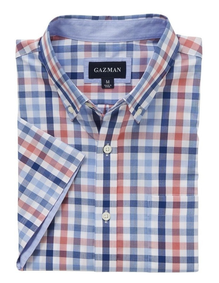 Easy Care Melange Check Short Sleeve Shirt image 4