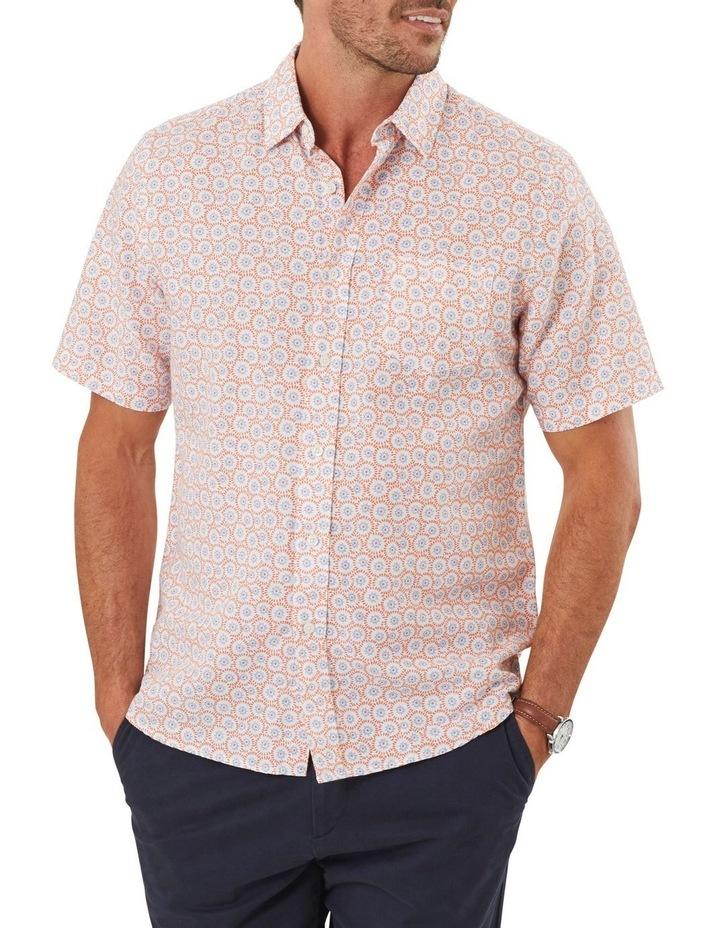 Linen Blend Floral Print Short Sleeve Shirt image 1