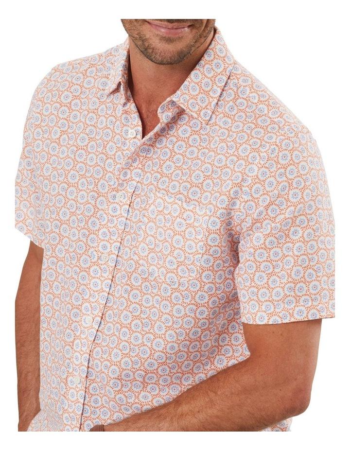 Linen Blend Floral Print Short Sleeve Shirt image 3