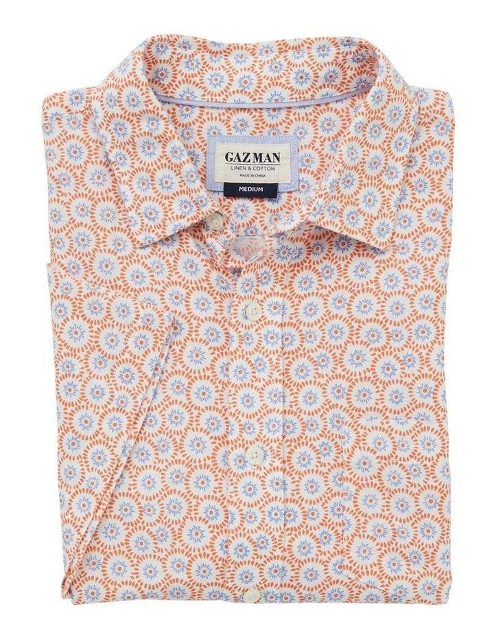 Linen Blend Floral Print Short Sleeve Shirt image 4