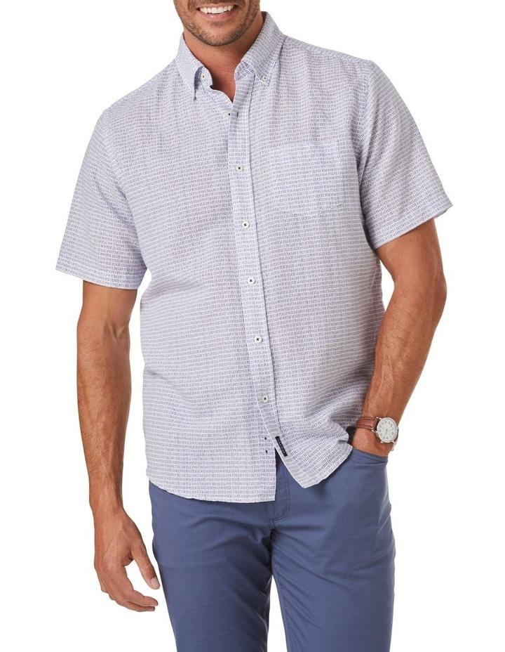 Linen Blend Dash Print Short Sleeve Shirt image 1