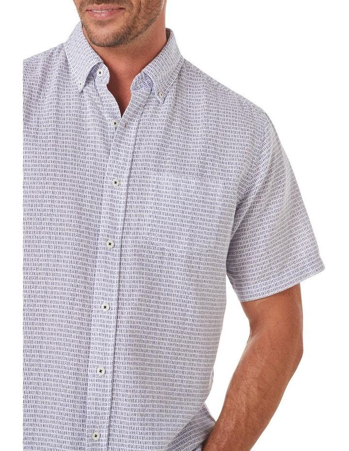 Linen Blend Dash Print Short Sleeve Shirt image 3