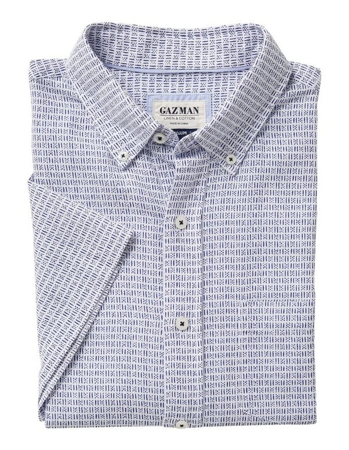 Linen Blend Dash Print Short Sleeve Shirt image 4