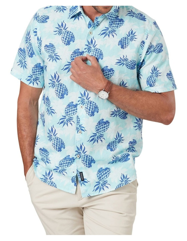 Linen Blend Pineapple Print Short Sleeve Shirt image 1