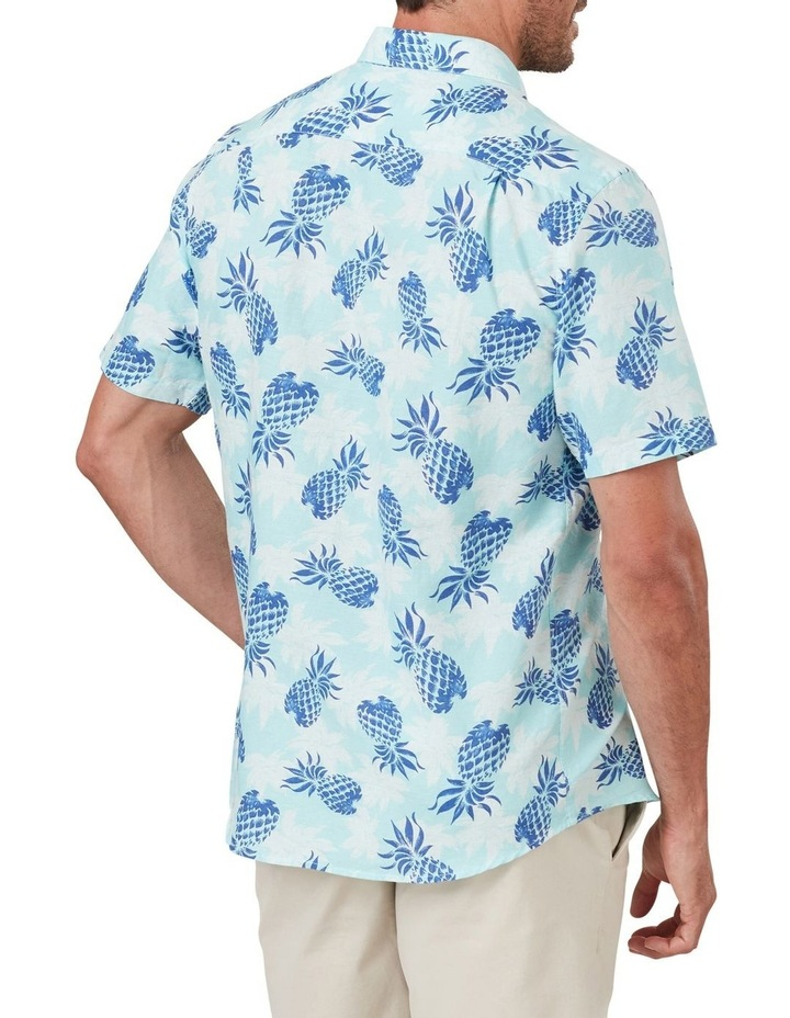 Linen Blend Pineapple Print Short Sleeve Shirt image 2