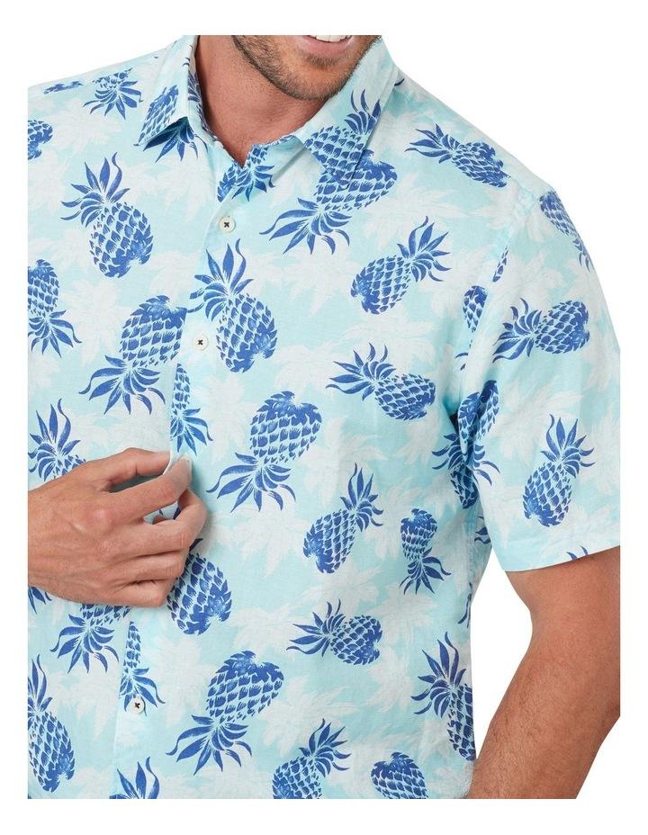 Linen Blend Pineapple Print Short Sleeve Shirt image 3