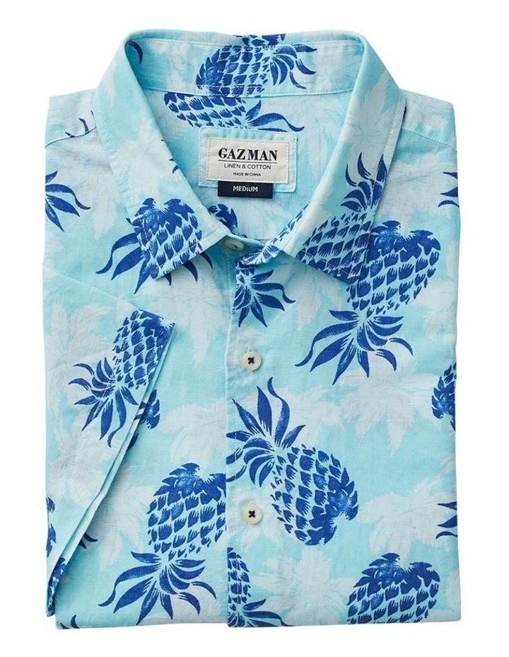 Linen Blend Pineapple Print Short Sleeve Shirt image 4