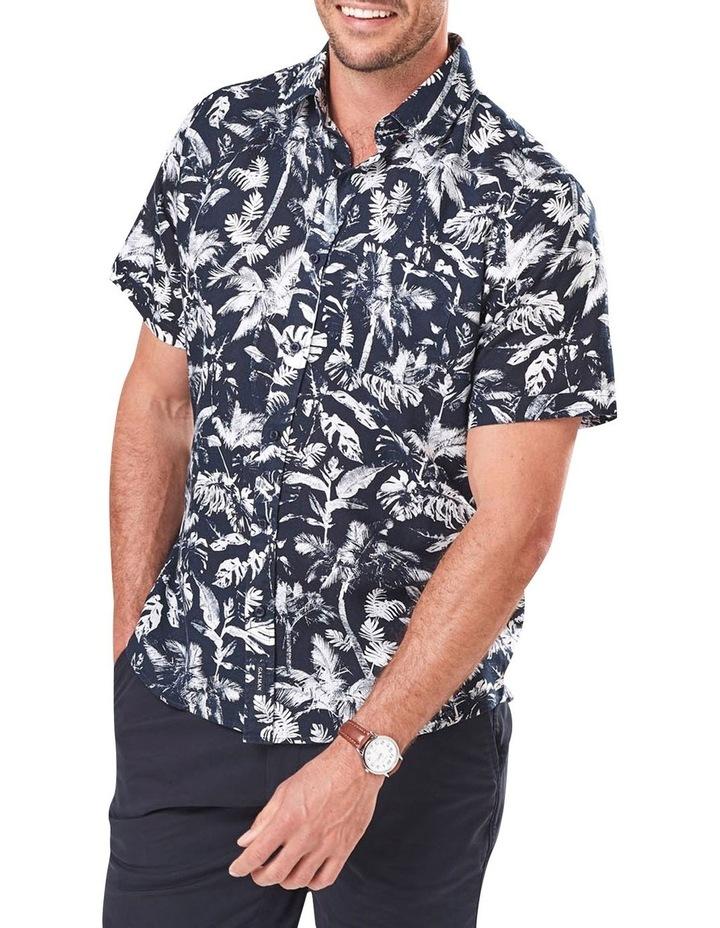 Linen Blend Palm Print Short Sleeve Shirt image 1