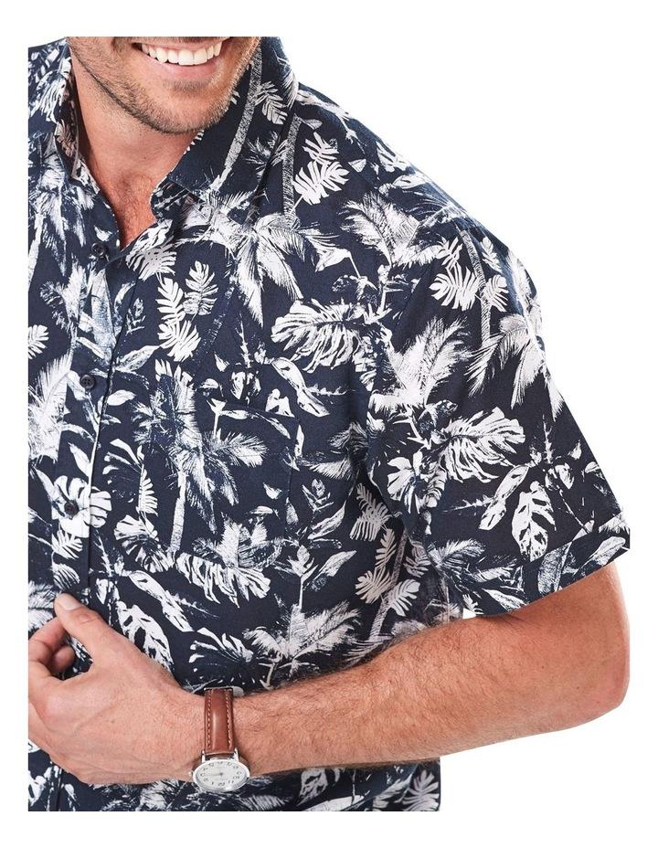 Linen Blend Palm Print Short Sleeve Shirt image 3