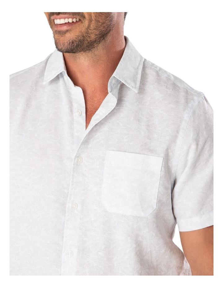 Light Grey Fern Print Short Sleeve Shirt image 3