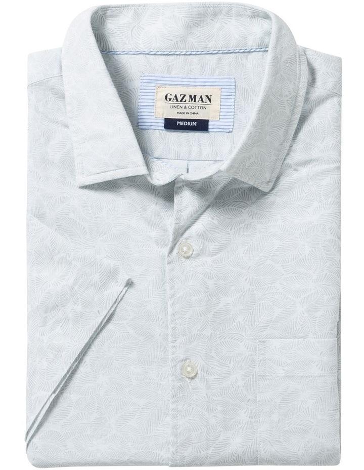 Light Grey Fern Print Short Sleeve Shirt image 4