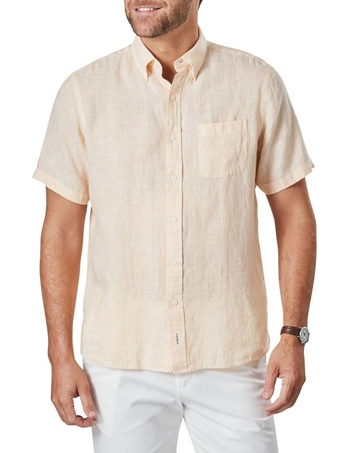 Pure Linen Stripe Short Sleeve Shirt Yellow image 1