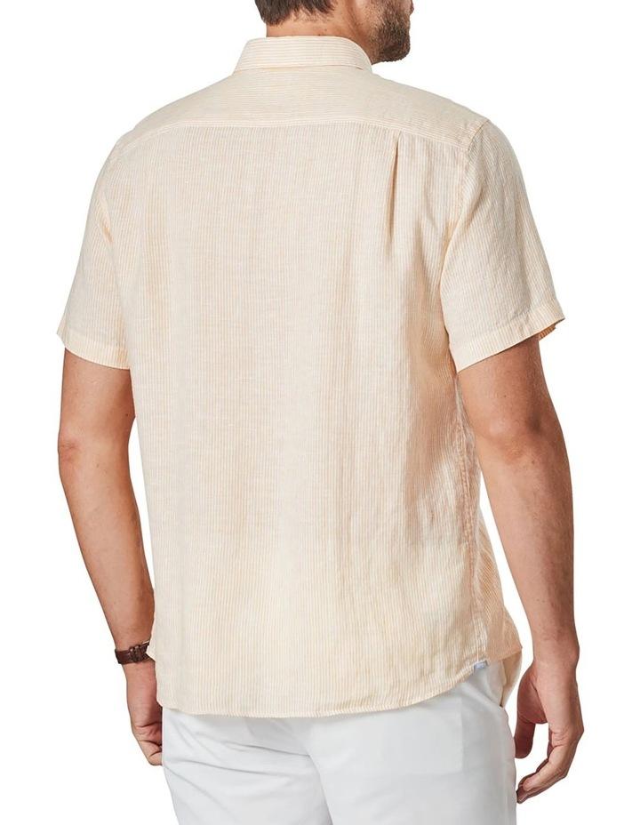 Pure Linen Stripe Short Sleeve Shirt Yellow image 2