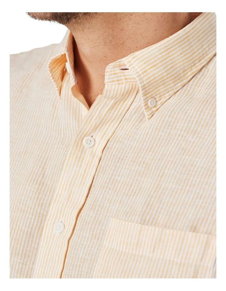 Pure Linen Stripe Short Sleeve Shirt Yellow image 3