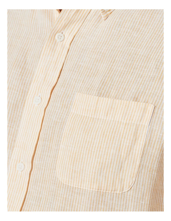 Pure Linen Stripe Short Sleeve Shirt Yellow image 4