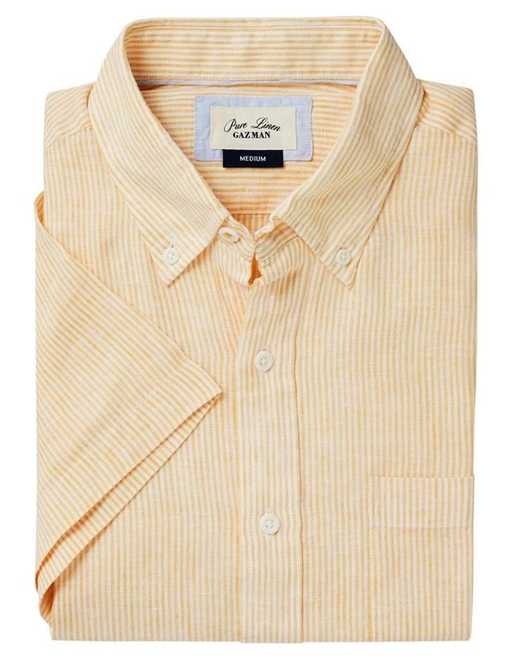 Pure Linen Stripe Short Sleeve Shirt Yellow image 5