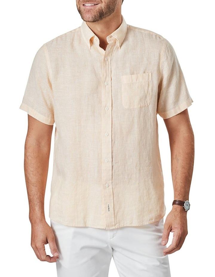 Pure Linen Stripe Short Sleeve Shirt Mango image 1