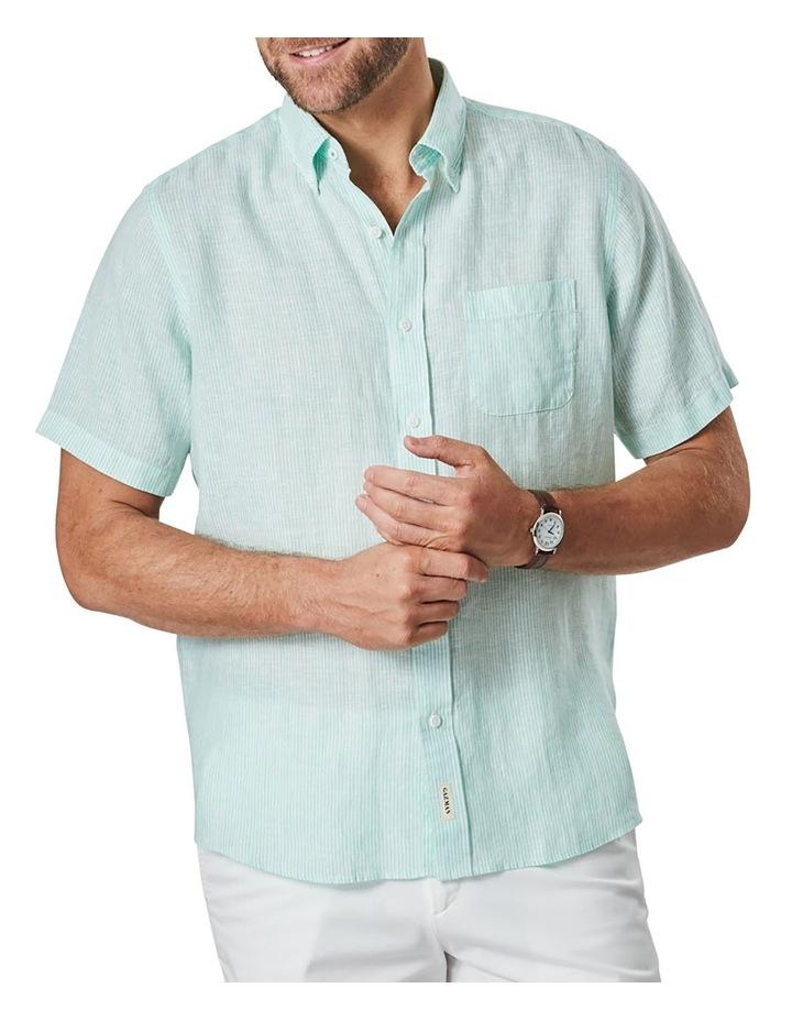 Pure Linen Stripe Short Sleeve Shirt Jade image 1