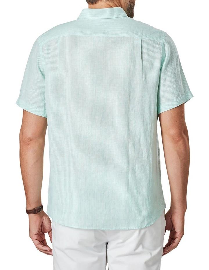 Pure Linen Stripe Short Sleeve Shirt Jade image 2