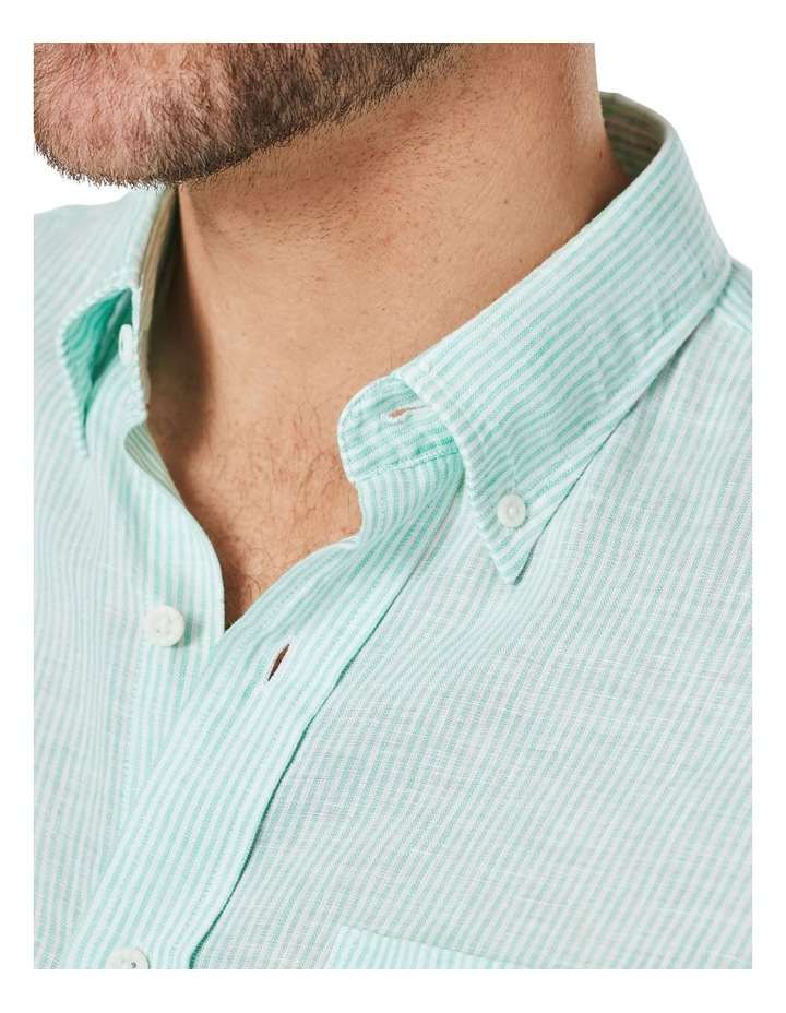 Pure Linen Stripe Short Sleeve Shirt Jade image 3